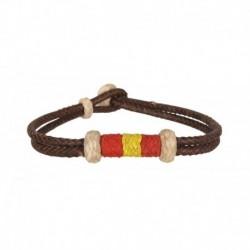 Pulsera cordón marrón Bandera España