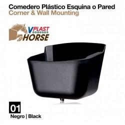 Comedero plástico esquina o pared para caballos
