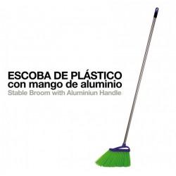 Escoba plástico con mango aluminio