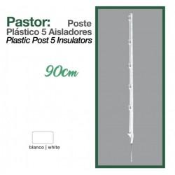 Poste plástico 5 aisladores 90 cm